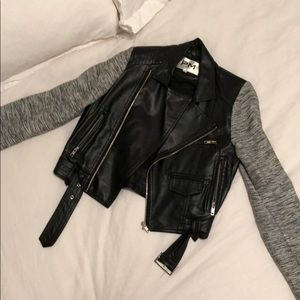 Faux leather and knit jacket